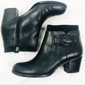 Franco Sarto | Black Leather Buckle Huntress Boots
